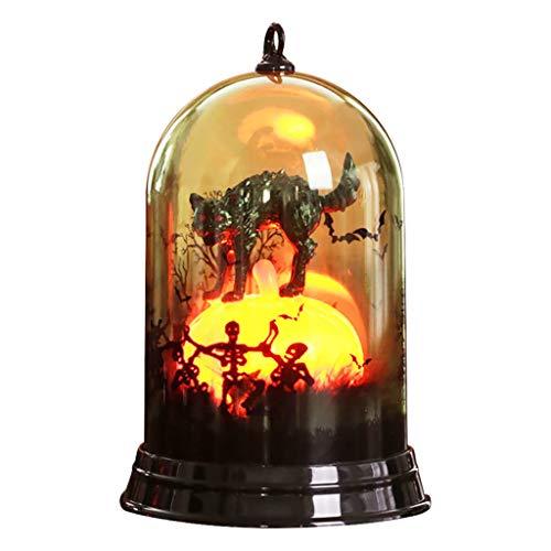 Ln-ZME Halloween Kürbis Lampe Kleiner Lampenschirm Desktop Deko Leuchtende Hexe Schwarze Katze Krähe Schädel Requisiten Kreativ Glücklich Schick Lustig Party Pub KTV Garten Kleine Szene -
