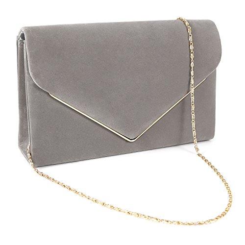 Kunstwildleder Umhaengetasche Umschlag Damentasche Abendtasche Clutch Handtasche Grau