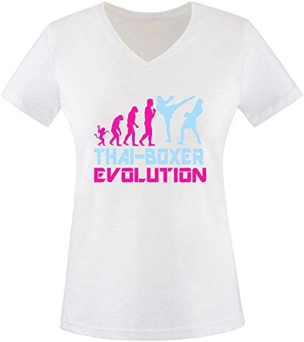 EZYshirt® Thai Boxing Evolution Damen V-Neck T-Shirt Weiss/Pink/
