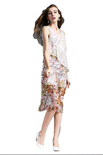 Bedruckter Seide Ärmelloses Kleid Stitching Foto Farbe -sonny4animals.eu