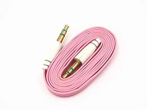 smartec24® Audio Aux Kabel 3,5mm auf 3,5mm in rosa Aux-Flachkabel mit vergodeten Klinkensteckern für Kopfhörer, Smartphones, MP3 Player, Autoradio uvm. - Flat Series (Rosa Auto-lautsprecher)