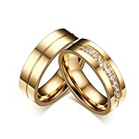 6MM Stainless Steel Gold Wedding Rings Set For His and Her With Cubic Zirconia Women Size N 1/2 & Men Size R 1/2