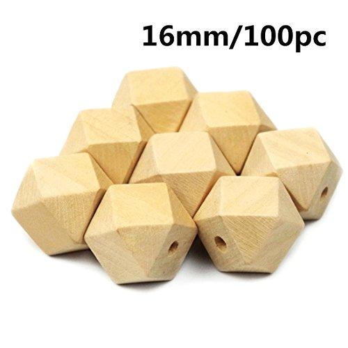 Mamimami Home 16mm Holzperlen Spacer Perlen 100pcs Unvollendet Geometrisch Perlen Schmuck für DIY hölzerne Halskette