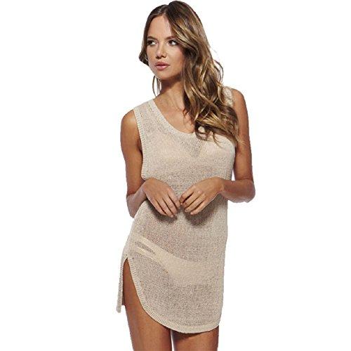 Malloom® mujer dama sin mangas Playa Bikini trajes de baño tejido de punto blusón camisa vestido (beige(beige))