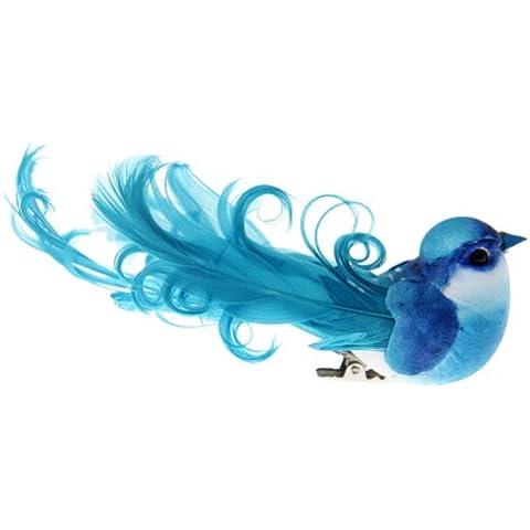 Feste e Decorazioni - Uccello di decorazione con clip - Turchese