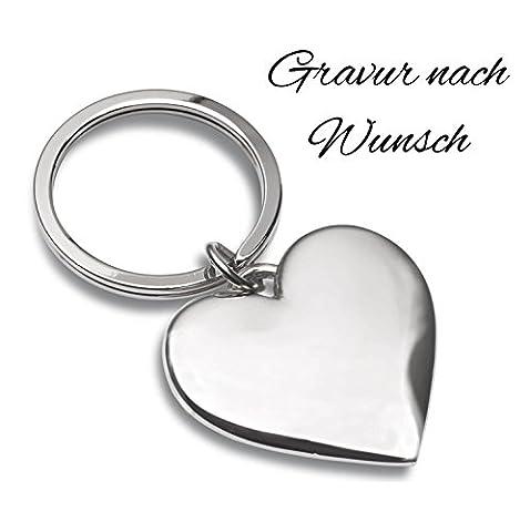 Schlüsselanhänger Herz silber mit Gravur nach Wunsch - Ideal als Geschenkidee am Valentinstag oder für Verliebte