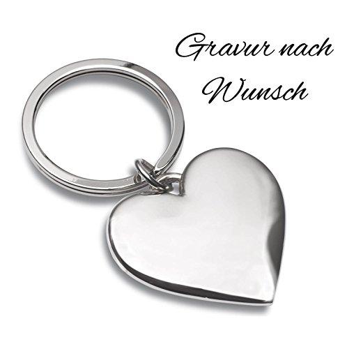 Laser Tattoo Schlüsselanhänger Herz Silber mit Gravur nach Wunsch - Ideal als Geschenkidee am Valentinstag oder für Verliebte - Personalisierte Schlüsselanhänger