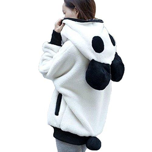 (Kapuzen Shirt Damen Sunday Niedlich Bär Ohr Panda Winter Warm Hoodie Mantel Frauen Kapuzenjacke Oberbekleidung (Weiß, M))