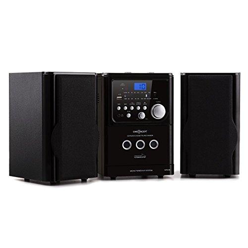 oneConcept MCD-187 Micro-Stereoanlage Mini Hifi-Anlage mit MP3-CD-Player (USB-Slot, UKW-Radio, Kassette, Fernbedienung) schwarz