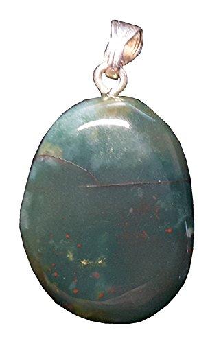 KRIO - schöner großer Heliotrop/Blutjaspis/Hildegardis Jaspis Anhänger mit Silberöse