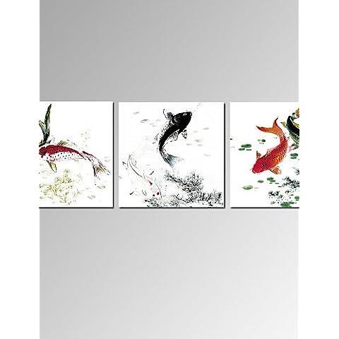 ZSQ 3 Pesci Pannello Cinese Pittura stampe per arredamento di casa tela tesa arte pronto ad appendere #2529