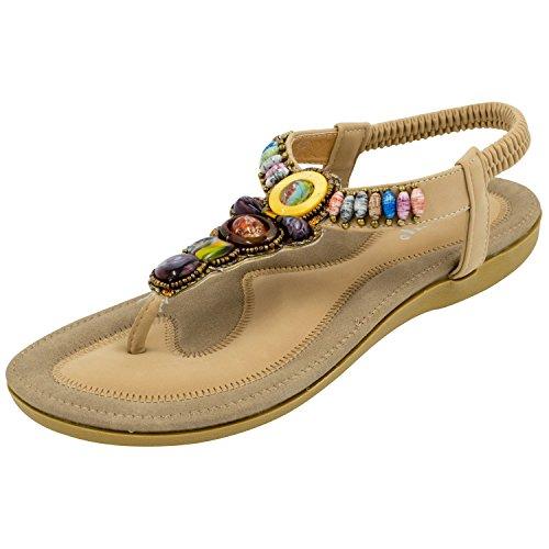 Oasap-Mujer-Thong-Sandals-Sandalias-Bohemia-Adorno-de-Rhinestone