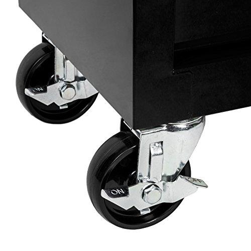 TecTake Werkzeugwagen Werkstattwagen | 7 verschließbare Schubfächer | Kugelgelagerte Gleitschienen | auf Rollen | -diverse Modelle- (Schwarz | Nr. 402800) - 6