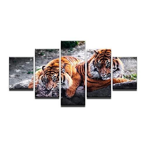 Fbhfbh 5 Stücke Zwei Tiger Tiere Leinwand Malerei Auf Der Wand Bilder Für Wohnzimmer Bestbewertete Cuadros Decoracion Poster Modulare Bild-4x6/8/10inch,Without frame (De Halloween Decoracion)
