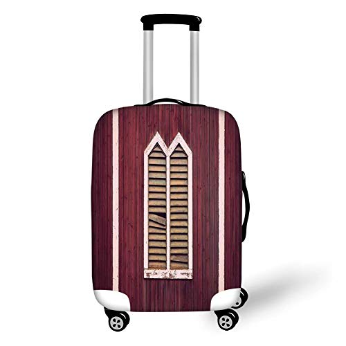 Travel Luggage Cover Suitcase Protector,Shutters,Window Frame with Shutters on a Wooden Wall Vintage Style Artwork Print,Burgundy and Pink,for Travel,S