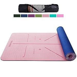 YAWHO Yogamatte Hochwertige TPE ist Rutschfest Eco Freundlichen Material Das SGS Zertifiziert Maße: 183 cm X 66 cm Höhe 0.6 cm, Design Hilfslinien, Licht, Umweltfreundlich, Langlebig (Light Pink)