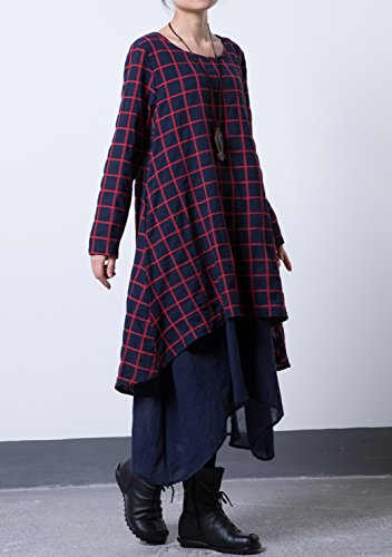 MatchLife Femme Plaid Layers O-Cou Robe Bleu Marin