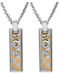 Daesar Conjunto de Joyería Collar Colgante Acero Mujer, Placa Nombre Militar Corazón Cerradura & Llave Colgante
