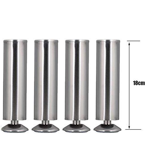 RCJCQS 4Er Set Möbelfüße Verstellbar Tischbeine Sockelfuß Möbelfuß Schrankfuß Tischfuß Sofafuß Stützfuß Edelstahloptik Gebürstet,18cm