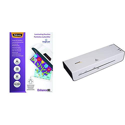 Fellowes 5306114 Pouches Di Plastificazione, Formato A4, 80 Micron, Confezione da 100 Pezzi & AmazonBasics - Plastificatrice a caldo