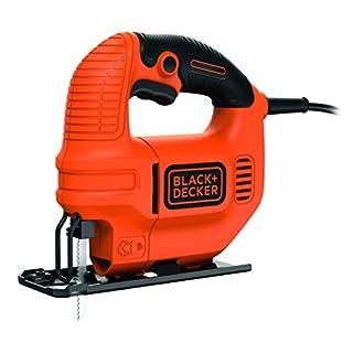 Black+Decker Elektro Kompakt Stichsäge 400W KS501 – Säge für Holz, Metall & Kunststoff mit 0/45° Gehrungsschnitt & verstellbarer Fußplatte
