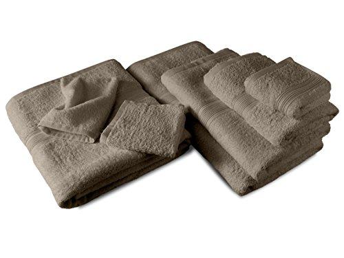 Packs zum Sparpreis - solide Frottiertücher - erhältlich in 18 modernen Farben und 8 verschiedenen Größen, 2er Pack Duschtücher (70 x 140 cm), sand (Verschiedene Packs)