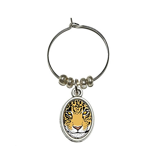 Leopard – Big Cat Wein Glas Oval Charm Drink Marker (Cat Charms Glas Wein)