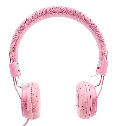 Casque pour Auna Disco Fever chaîne, OneConcept Karaboom parleur Bluetooth, Auna KS-1 Starlet et Rockpocket Lecteurs Cd+G Karaoké – rose enfant – DURAGADGET