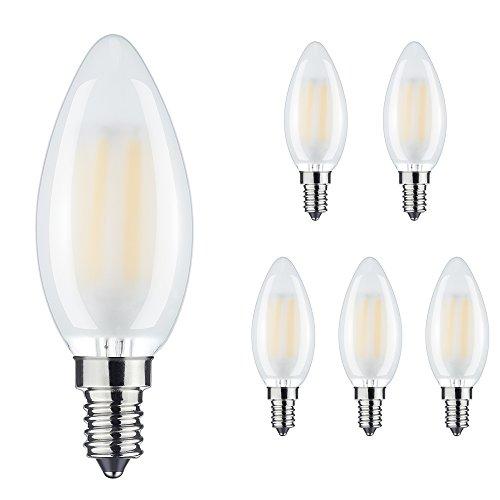 rayhoo Porzellanperlen 6W E14LED Dimmbar-Kerze Leuchtmittel warnen weiß 2700K C35Kleine Edison-Schraube SES LED Antik Filament Glühlampe 60W Glühlampe Ersatz & # xff08; Opal Fall & # xff09; -