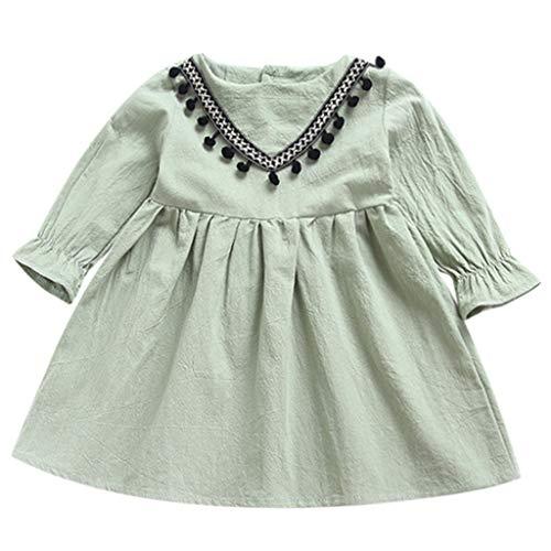 KIMODO Kleinkind Baby Mädchen Kleid Einfarbig Geraffte Quasten Kleider Ärmellos Urlaub Prinzessin Sommerkleid Outfit Kleidung (Großer Xmas Outfits Hund)
