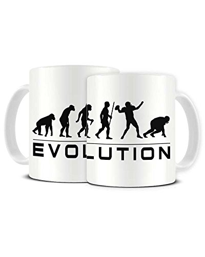Funky NE Ltd Kaffeetasse aus Keramik, Motiv Evolution eines American Football Fans, tolle Geschenkidee