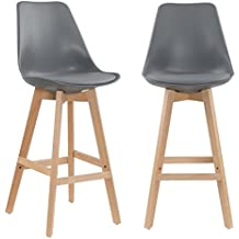 Mobilier Deco Lot De 2 Tabourets Bar Scandinave Gris