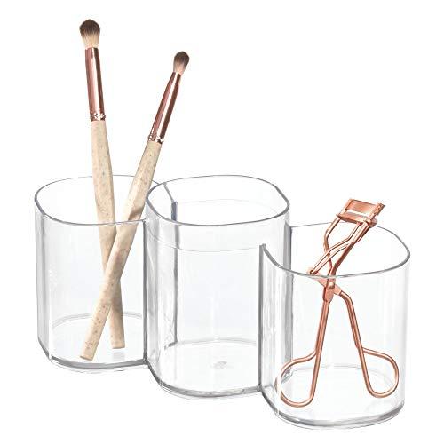 iDesign Badbecher, Kosmetik Aufbewahrung mit 3 Fächern aus Kunststoff, 3-facher Becher für Schminke oder als Zahnputzbecher, durchsichtig