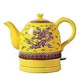 YSkettle Wasserkocher Emaille Chinesischer Drache 1.3L + Gelb Exklusiv für den Kaiser