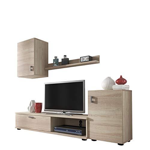 Mirjan24 Wohnwand Lia, Elegantes Wohnzimmer Set, Praktische Anbauwand, Schrankwand, Hängeschrank, TV Lowboard, Stehschrank (Sonoma Eiche)