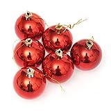 OMFGOD Weihnachten Farbe Kugel Galvanisierten Kugel Weihnachtsbaum Dekorationen (6 Pcs), Rot