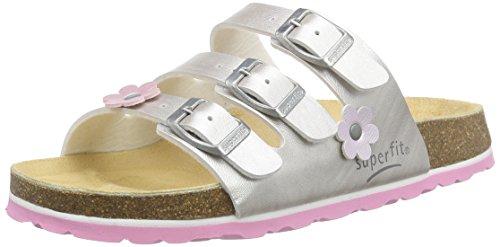 Superfit Mädchen Fussbettpantoffel Pantoffeln Silber (SILBER 16)