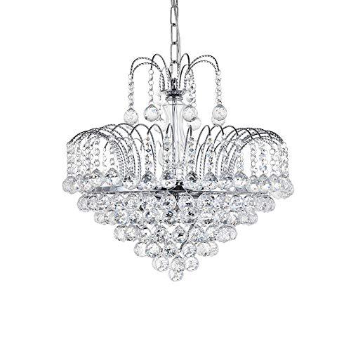 Dst-moderne Luxus Regen fallen klare K9 Kristall-Kronleuchter, Deckenleuchten mit 6 Glühbirne Basis für Wohnzimmer Schlafzimmer oder Studie Raum Durchmesser 45 cm Höhe 42cm (Style one)