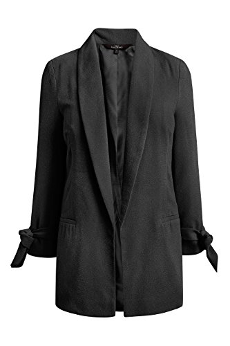 next Damen Jacke mit Bindegürtel Schwarz EU 34 (UK 6) (Revere Mantel)