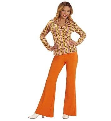 Damenbluse Groovy 70s 70er Jahre Bluse Damen Schlager Hippie siebziger Oberteil (L/XL, Discs) (Siebzig Outfits)