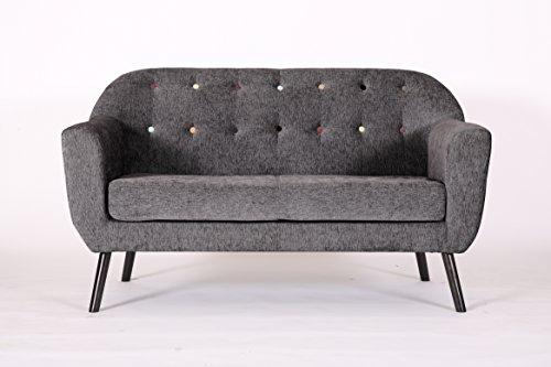 Pro Retro Designer Accent geschwungene Stoff Leinen Tub Stuhl Sessel Sofa für Wohnzimmer Esszimmer Rezeption Stuhl, Anthrazit, 2 Seat Sofa -
