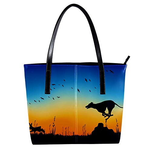 Women's Bag Shoulder Tote handbag with Whippet Chasing Rabbit print Zipper Purse PU Leather Top-handle Zip Bags -
