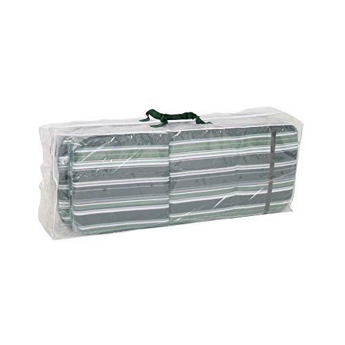 Greemotion Schutzhülle für Auflagen wasserabweisen mit Ösen, Transparent, 125x50x32cm -