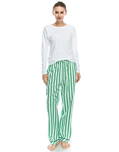 TINFL Frau Plaid Check Soft 100% Baumwolle Flannell Pajama Lounge Sleep Hose 53-Green