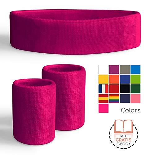 Freshkeychain Premium Schweißband Set - rutschfestes Stirnband und 2 hochwertige Schweißbänder für's Handgelenk - Dein 3er Vorteilspack (Hellpink)