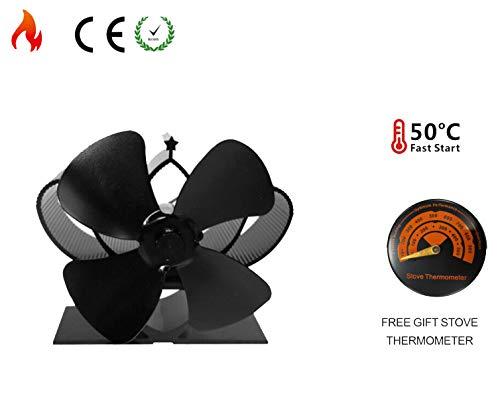 Silen Ventilador de estufa de 4/5/8 pulgadas con termómetro de estufa, respetuoso...