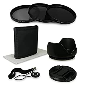 55mm Accessory Kit for Canon EOS 1100D | 550D | 600D - Sony Alpha 100 | 200 | 230 | 290 | 330 | 350 | 380 | 390 | 450 | 500 | 550 | 580 | 700 - Alpha 7 - Sony Alpha SLT-33 | SLT-35 | SLT-37 | SLT-55V | SLT-57 | SLT-58 | SLT-65V | SLT-77V etc… incl. Filter Kit with Pouch (ND2 + ND4 + ND8) + Microfiber Lens Cleaning Cloth + Tulip Lens Hood + Center Pinch Lens Cap