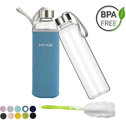 Voyage Glasflasche BPA-frei Glasflasche - 550ml Trinkflasche Classic mit Nylon Tasche - für Auto - für Unterwegs Sport Flasche Glas Flasche Water Bottle Wasserflasche Trinkflasche aus Glas (Blau)