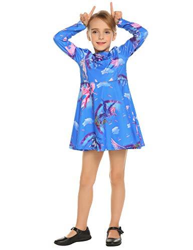 Kleid Mädchen Langarm Einhorn Meerjungfrau Blumen Herbst Karikatur Prinzessin T-Shirt Kleider Freizeitkleidung Gr. 110-150