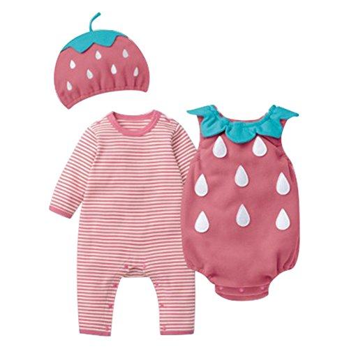 Wongfon Baby Mädchen Halloween Outfit Bekleidung Set Striped Spielanzug + Hats + Overall für 0-24 Monate (Alte 18 Kostüm Ideen Monate Halloween)
